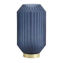 Tafellamp mat blauw 15x27 cm, werkzaam op batterij.